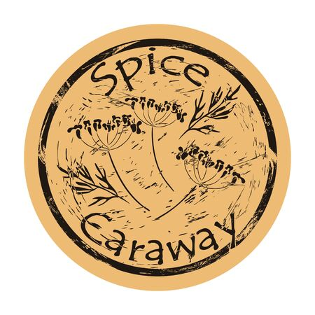 Caraway spice view icon vector round shabby emblem design, old retro style. Caraway plant spicy ingredient mail stamp on craft paper. Cooking ingredient vintage grunge sign.