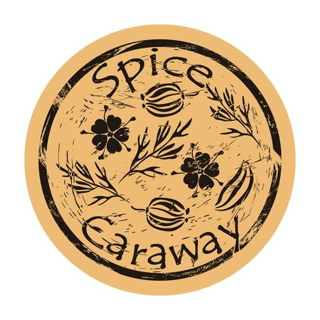 Caraway spice view icon vector round shabby emblem design, old retro style. Caraway plant, seed and flowers spicy ingredient mail stamp on craft paper. Cooking ingredient vintage grunge sign.