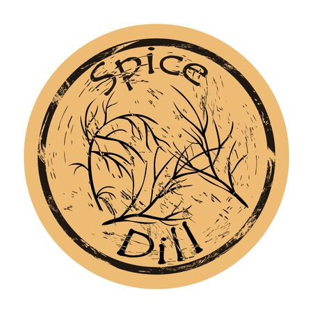 Dill spice view icon vector round shabby emblem design, old retro style. Dill plant spicy ingredient mail stamp on craft paper. Cooking ingredient vintage grunge sign. Ilustrace