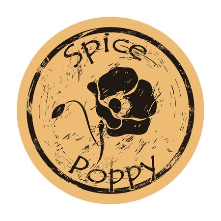 Poppy spice view icon vector round shabby emblem design, old retro style. Poppy flower ingredient mail stamp on craft paper. Cooking ingredient vintage grunge sign.