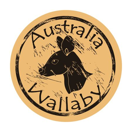 Wallaby profile head silhouette icon vector round shabby emblem design, old retro style. Australian animal logo mail stamp on craft paper. Realistic wallaby design shape vintage grunge sign. Ilustrace