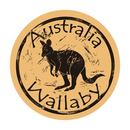 Australian wallaby silhouette icon vector round shabby emblem design, old retro style. Wallaby in full growth logo mail stamp on craft paper. Jumping animal shape vintage grunge sign.