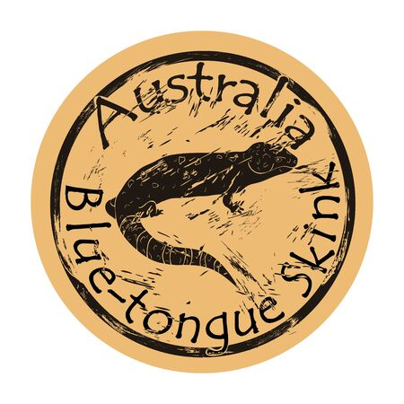 Blue tongue skink silhouette icon vector round shabby emblem design old retro style. Blue-tongue lizard in full growth logo mail stamp on craft paper. Blue-tongued skink reptile vintage grunge sign