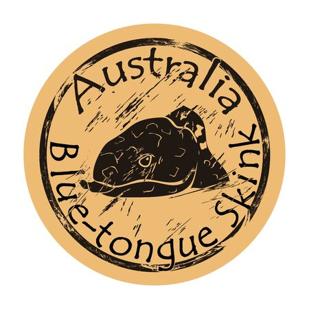 Blue tongue skink profile head silhouette icon vector round shabby emblem design, old retro style. Australian animal logo mail stamp on craft paper. Realistic Blue-tongue lizard design shape vintage grunge sign.