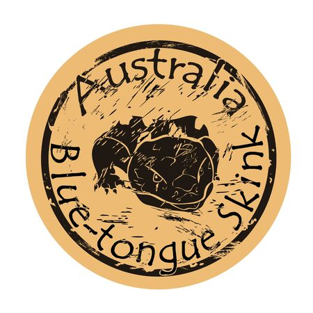Blue tongue skink head silhouette icon vector round shabby emblem design, old retro style. Australian animal logo mail stamp on craft paper. Realistic Blue-tongue lizard design shape vintage grunge sign.