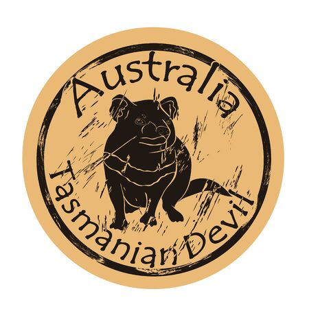 Tasmanian devil silhouette icon vector round shabby emblem design old retro style. Tasmanian devil in full growth logo mail stamp on craft paper. Tasmanian devil vintage grunge sign