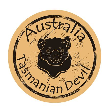 Tasmanian devil head silhouette icon vector round shabby emblem design, old retro style. Australian animal logo mail stamp on craft paper. Realistic tasmanian devil shape vintage grunge sign.