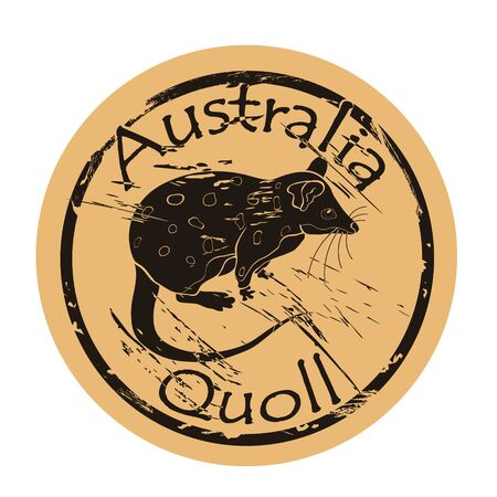 Quoll silhouette icon vector round shabby emblem design old retro style. Quoll in full growth logo mail stamp on craft paper. Quoll vintage grunge sign. Marsupial marten. Ilustrace