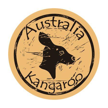 Kangaroo profile head silhouette icon vector round shabby emblem design, old retro style. Symbol of australia logo mail stamp on craft paper. Realistic kangaroo design shape vintage grunge sign. Ilustrace