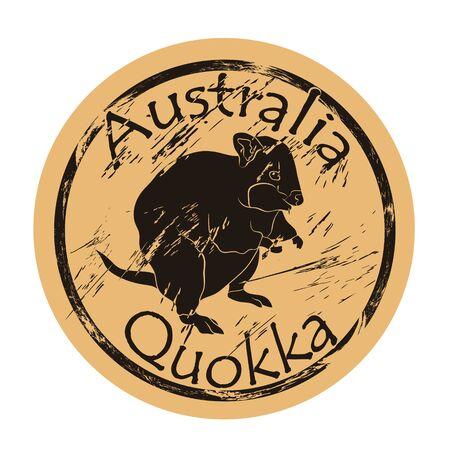Quokka silhouette icon vector round shabby emblem design old retro style. Ilustrace