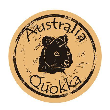 Quokka head silhouette icon vector round shabby emblem design, old retro style.