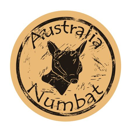 Numbat head silhouette icon vector round shabby emblem design, old retro style.