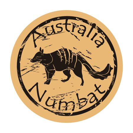 Numbat silhouette icon vector round shabby emblem design old retro style.