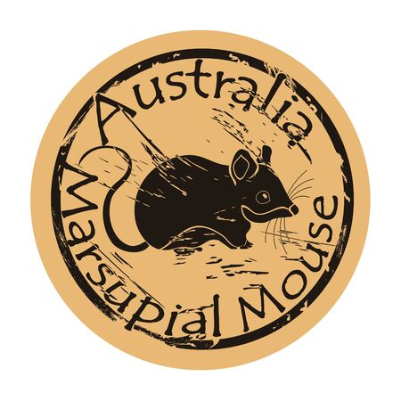Marsupial mouse silhouette icon vector round shabby emblem design old retro style.