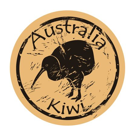Kiwi silhouette icon round shabby emblem design, old retro style.