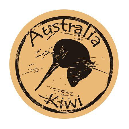 Kiwi profile head silhouette icon round shabby emblem design, old retro style. Ilustrace