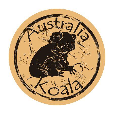 Koala silhouette icon vector round shabby emblem design old retro style.
