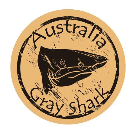 Gray shark silhouette icon vector round shabby emblem design old retro style.