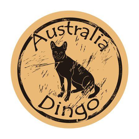 Australian wild dog dingo silhouette icon round shabby emblem design old retro style.