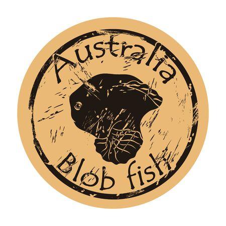 Blob fish silhouette icon round shabby emblem design old retro style .. Blobfish head  mail stamp on craft paper vintage grunge sign. Australian underwater fauna. Australia and Tasmania endemic. Ilustrace