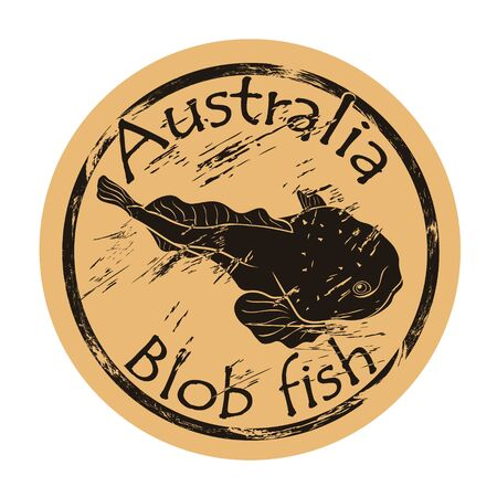 Blob fish silhouette icon round shabby emblem design old retro style. Blobfish in full growth  mail stamp on craft paper vintage grunge sign. Australian underwater fauna. Tasmania endemic.