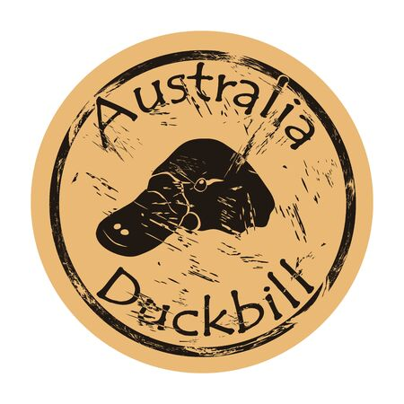 Australian platypus or duckbill silhouette icon round shabby emblem design old retro style. Duckbill head  mail stamp on craft paper vintage grunge sign. Waterfowl mammal resembling reptile.