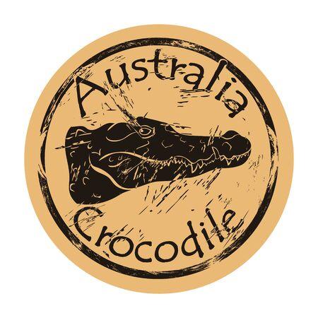 Australian freshwater crocodile silhouette icon round shabby emblem design old retro style. Crocodile head  mail stamp on craft paper vintage grunge sign. Dangerous australian predator Ilustrace
