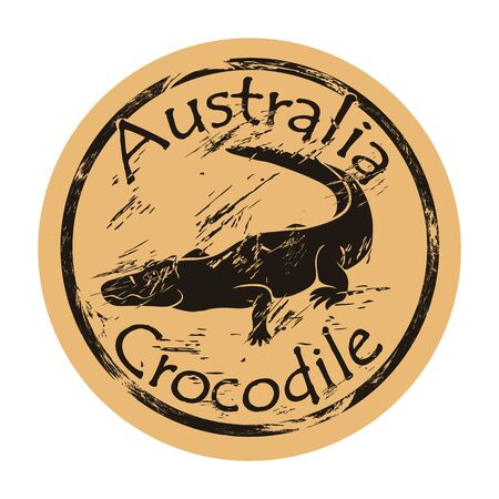 Australian freshwater crocodile silhouette icon round shabby emblem design old retro style. Crocodile in full growth  mail stamp on craft paper vintage grunge sign. Dangerous predator reptile.