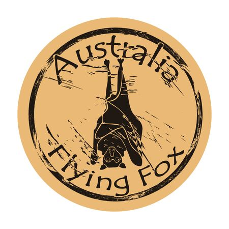 Flying fox silhouette icon round shabby emblem design old retro style grunge. Flying fox in full growth  mail stamp on craft paper. Flying fox hanging on branch upside down. Chiropters animal. Illustration
