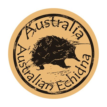 Australian echidna silhouette icon round shabby emblem design old retro style. Spiny anteater in full growth  mail stamp on craft paper vintage grunge sign. Needle-covered animal with a long nose.