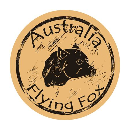 Flying fox silhouette icon vector round shabby emblem design old retro style. Flying fox profile head  mail stamp on craft paper. Australian chiropters animal vintage grunge sign.