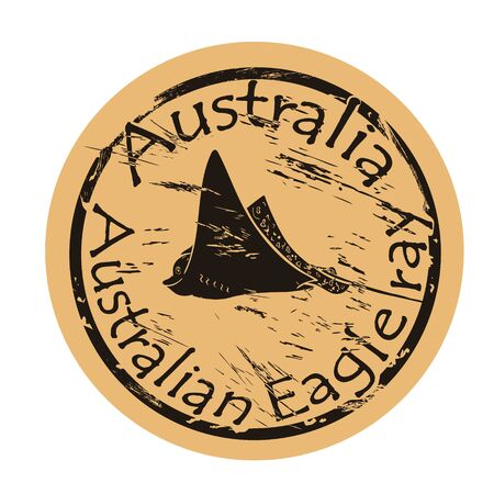 Australian Eagle ray in full growth vector silhouette icon round shabby emblem design old retro style. Devilfish  mail stamp on craft paper. Shape tropical tropical skate, stingray fish vintage grunge sign