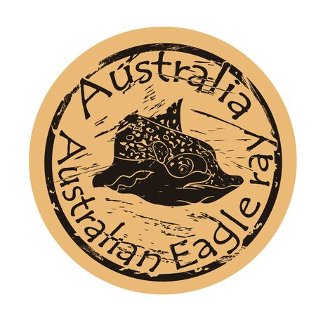 Australian Eagle ray vector head silhouette icon round shabby emblem design, old retro style. Devilfish  mail stamp on craft paper. Shape Tropical skate, Stingray fish vintage grunge sign.