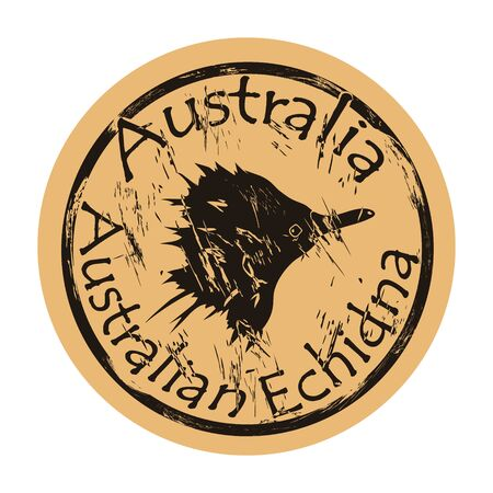 Australian echidna silhouette icon round shabby emblem design old retro style. Spiny anteater profile head mail stamp on craft paper vintage grunge sign. Needle-covered animal with a long nose.
