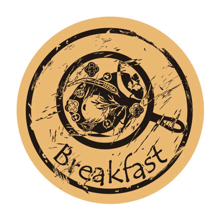 Breakfast icon vector round shabby emblem flat design, old retro style. Fried eggs with vegetables in a pan silhouette. Food logo stamp on craft paper. Morning meal shape vintage grunge sign.