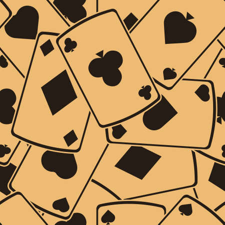 Playing cards vector seamless pattern. Card suits. Vintage classic style. Aces of different suits. Casino poker hazard risk game. Pattern with icons of playing cards on craft paper.  イラスト・ベクター素材