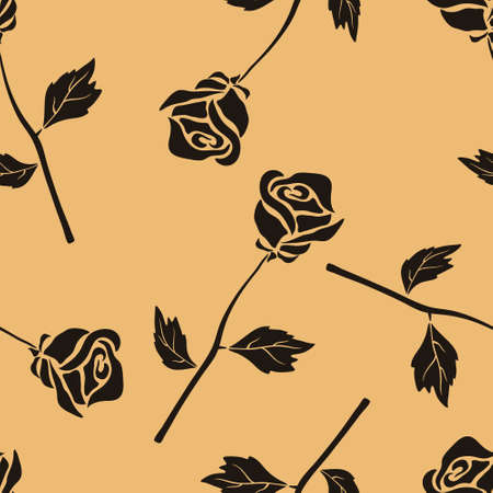 Rose flower vector seamless pattern in old retro style. Vintage pattern minimal design on craft paper. Rose repeat texture on craft paper. Floral wallpaper. blooming flowers and leaves silhouette.