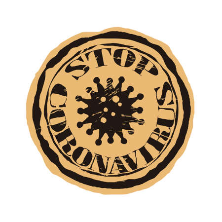 Coronavirus molecule cell logo on craft paper background. COVID-19 vector round shabby emblem design. Stop coronavirus round seal imitation. 2019-nCoV outbreak concept. Stamp in old grunge style. Logos