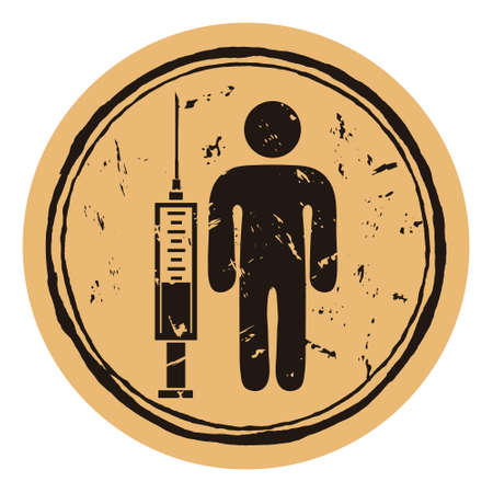 Syringe with vaccination and person. Anti virus disease grunge rubber round stamp on craft background.