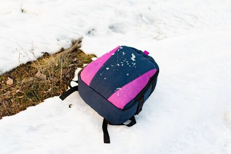 Modern simple and lightweight backpack with straps and handles with a zipper, oval and rounded shape, blue and lilac color, on snow and dry grass on a trip to natural places 写真素材