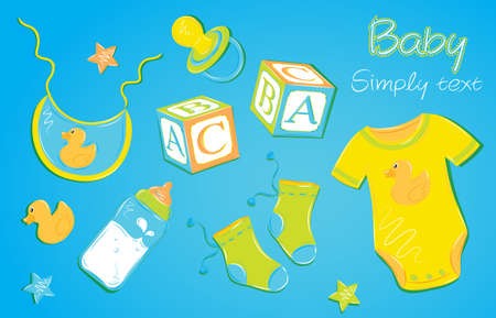 Children s clothes on a blue background baby pacifier nipple cubes socks toy duck clothing Vector