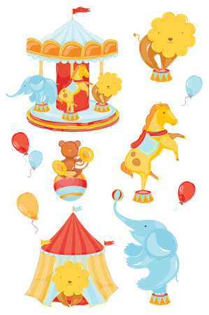 carousel: icons on a circus theme with a lion elephant monkey horse carousel in warm din