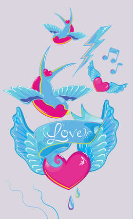 din: Composition of the ribbon with a heart tattoo wings in the style tatuirovkis din in the blue Illustration