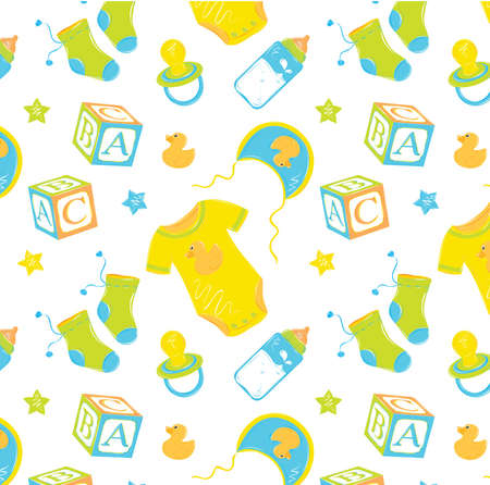 Pattern with baby clothes with a bottle nipple cubes in bright saturated orange colors   Vector