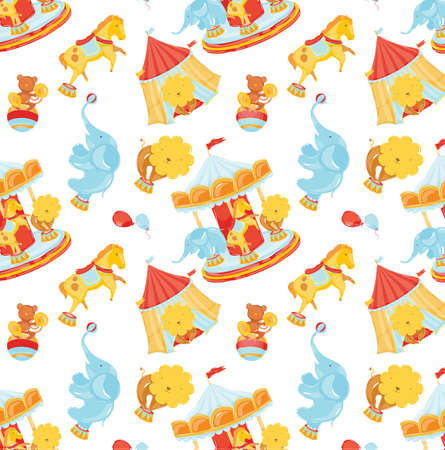 Circus pattern with animals and carousel and concession stands with balloons  Vector
