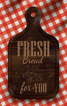 nutrient: Poster with bread cutting brown wood board lettering Fresh bread for you on a red checkered tablecloth  Vector