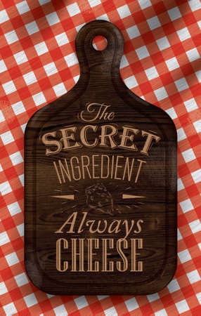 picnic blanket: Poster with bread cutting brown wood color board lettering The secret ingredient always cheese on a red checkered tablecloth  Vector