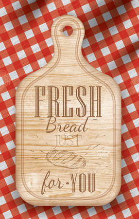 picnic blanket: Poster with bread cutting loft wood board lettering Fresh bread for you on a red checkered tablecloth  Vector