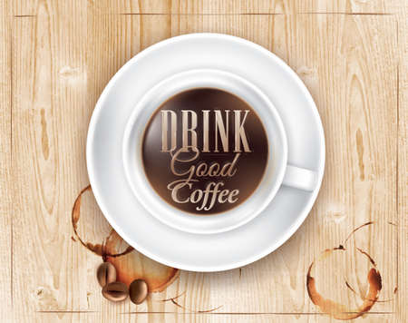 Poster coffee in loft wood color lettering Drink good coffee  Vector Vector