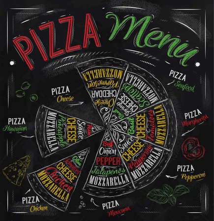pizza ingredients: Pizza menu the names of dishes of Pizza, Hawaiian, cheese, chicken, pepperoni and other ingredients tomato, basil, olive, cheese to design a menu stylized drawing with chalk of red, green  Vector Illustration